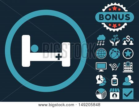 Hospital Bed icon with bonus elements. Vector illustration style is flat iconic bicolor symbols blue and white colors dark blue background.