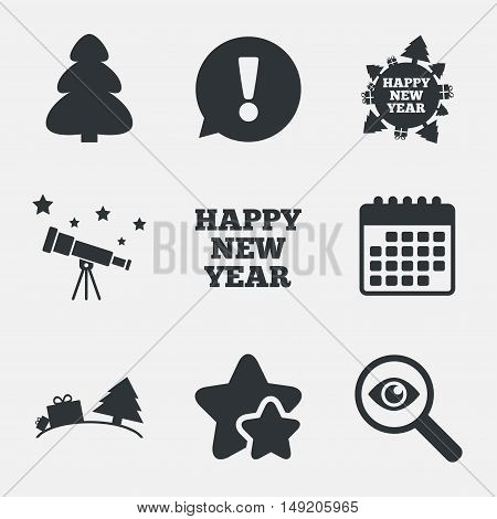 Happy new year icon. Christmas trees signs. World globe symbol. Attention, investigate and stars icons. Telescope and calendar signs. Vector