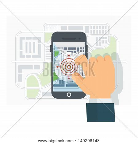 Mobile GPS Navigation. Mobile Phone. Mobile Technologies Concept. Flat cartoon vector navigation illustration. Objects isolated on a white background.