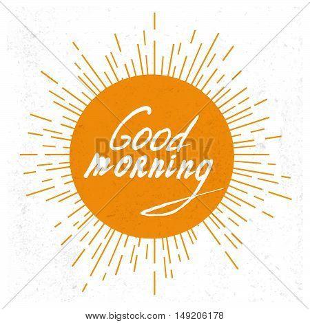 Good Morning lettering. Vector illustration. Stock vector.