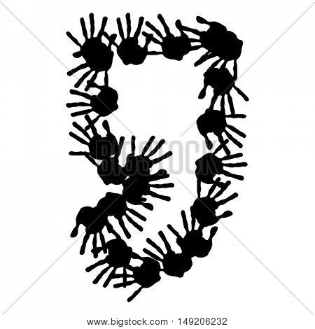 Concept or conceptual cute paint human hands or handprints of child font or symbol isolated on white background