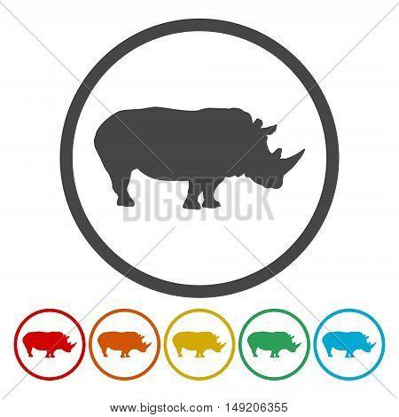 Rhino icon. rhino sign set on white background