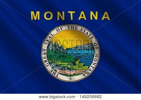Flag of Montana is a state of United States. 3D illustration