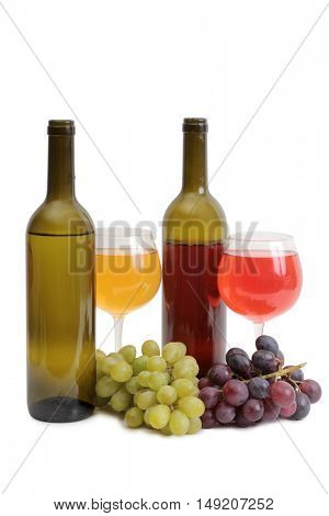 Bottle glass of wine and grapes on white background