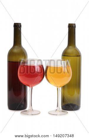 Wine glasses on white background