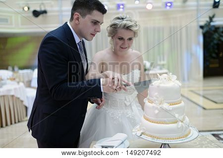 Beauty Bride And Handsome Groom Are Cutting A Wedding Cake. Couple In The Restaurant With Colorful P