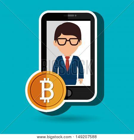 man smartphone bit coin vector illustration eps 10