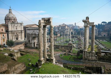 Ruins Of Ancient Roman Forum In Rome