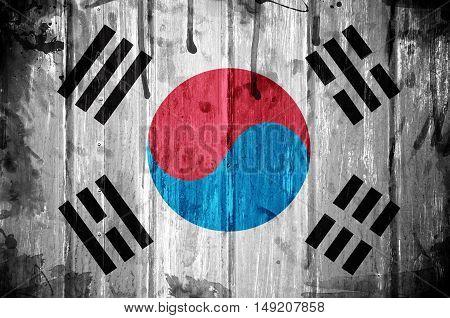 South Korea flag overlaid with grunge texture