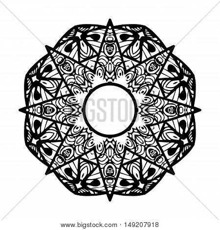 Ornamental star or Ethnic mandala.Mandala for coloring book.