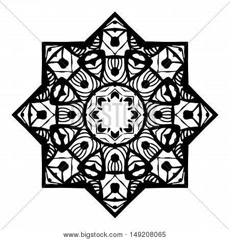 Stencil Mandala Design.Outline Mandala for coloring book.