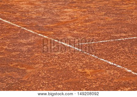Abstract view of a tennis court in clay