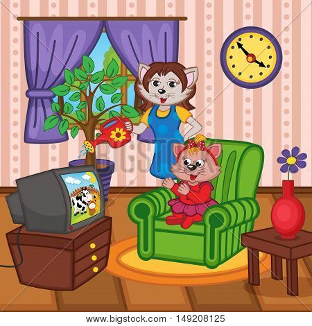 mother cat watering flowers baby cat watching TV - vector illustration, eps