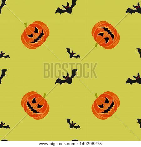 Halloween symbols pumpkin and bats seamless pattern on green background trendy flat style illustration. Cute fun evil smiling october pumpkins jack-o'-lantern sign