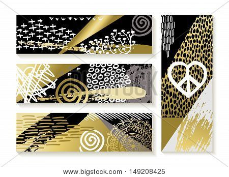 Set Of Modern Gold Banners And Fashion Designs