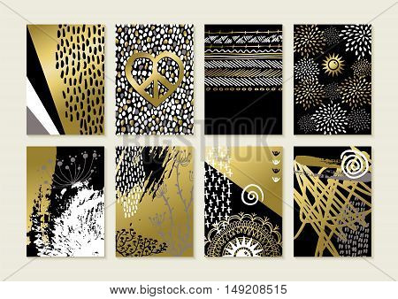 Set Of Gold Hand Drawn Abstract Art Card Designs