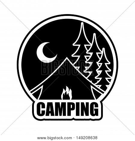 Night Camping Logo. Emblem For Accommodation Camp. Landscape With Tent And Forest. Moon And Bonfire