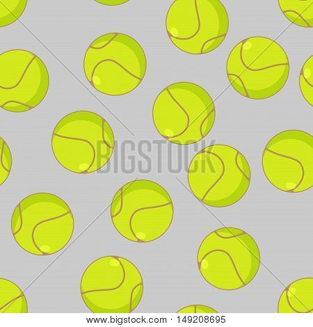 Tennis Ball Seamless Pattern. Sports Accessory Ornament. Tennis Background. Texture For Sports Game
