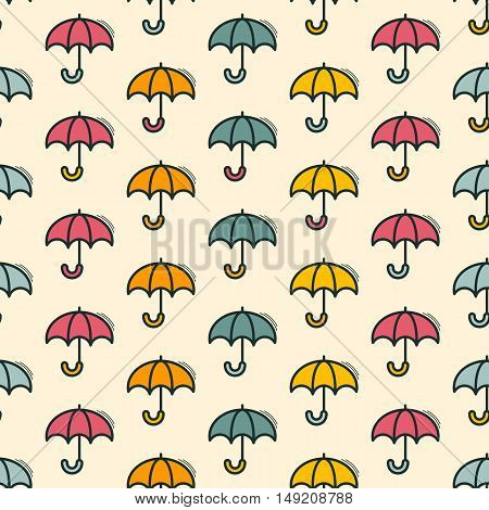 Vector seamless pattern with umbrellas motif can be used in textiles for book design website background