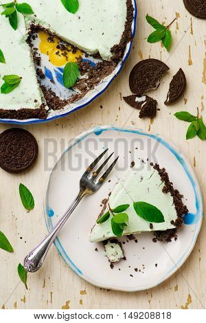 homemade chocolate mint ice cream cake. style vintage. selective focus