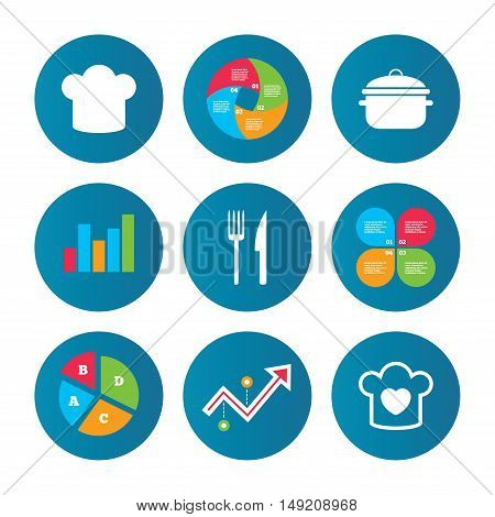 Business pie chart. Growth curve. Presentation buttons. Chief hat and cooking pan icons. Fork and knife signs. Boil or stew food symbols. Data analysis. Vector