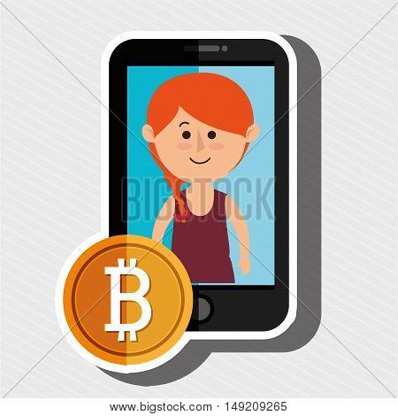 woman smartphone bit coin vector illustration eps 10