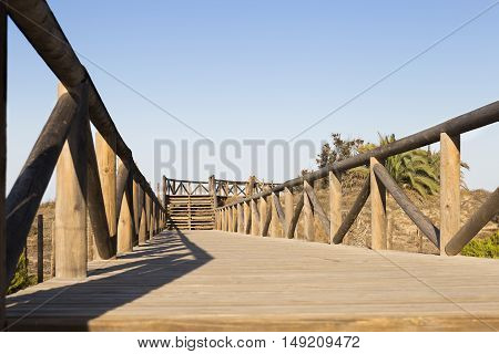 wooden foot bridge and stairs to the beach. Guardamar del segura Alicante . Spain