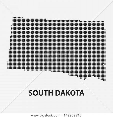 Dotted map of the State South Dakota. The form with black points on light background. Vector illustration.