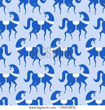 Horse Gzhel Painted Seamless Pattern. Russian National Folk Ornament. Traditional Folk Painting In R