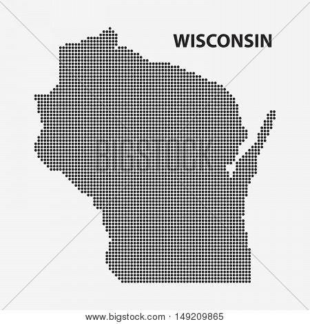 Dotted map of the State Wisconsin. The form with black points on light background. Vector illustration.