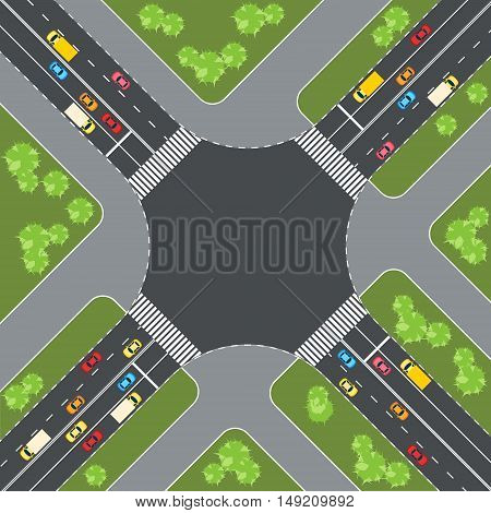 Aerial view of cars at intersection vector illustration
