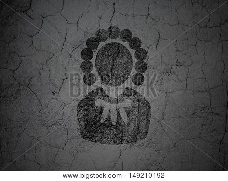 Law concept: Black Judge on grunge textured concrete wall background