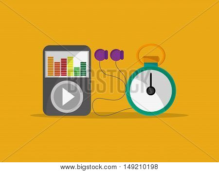 flat design chronometer with fitness lifestyle related icons image vector illustration