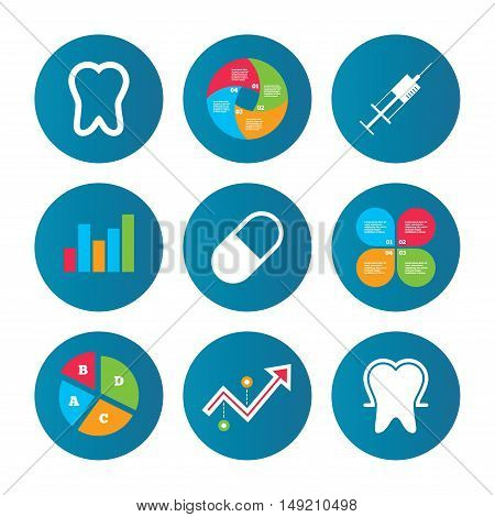 Business pie chart. Growth curve. Presentation buttons. Tooth enamel protection icons. Medical syringe and pill signs. Medicine injection symbol. Data analysis. Vector