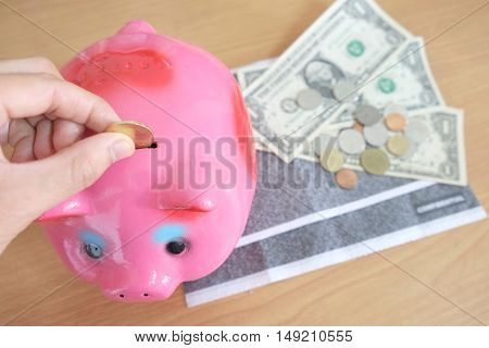 Saving money, vacation, retirement, piggy bank,saving money concept.