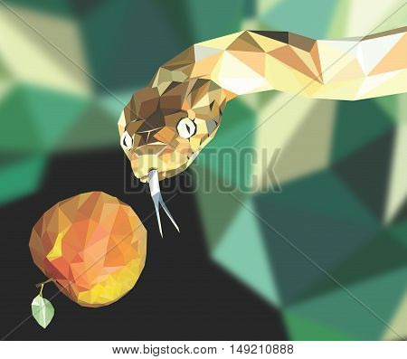 Low poly Illustration of a snake and a apple
