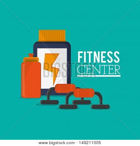 flat design protein supplement with fitness lifestyle related icons image vector illustration