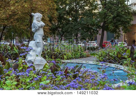 BELGOROD RUSSIA - SEPTEMBER 10 2016: Holy Trinity Boulevard in Belgorod Russia. Oldest sculpture fountain