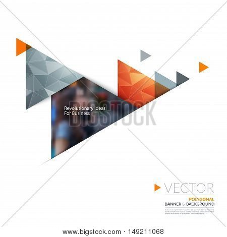 Vector design elements for graphic layout. Modern abstract background template with orange moving triangles, arrows with polygonal background for business, construction in clean minimal style.