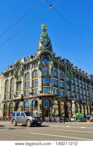 ST PETERSBURG RUSSIA - AUGUST 4 2015. Zinger House on Nevsky Prospect in the historic center of the city of St Petersburg Russia. Architecture view of St Petersburg lanmark. Architecture landscape