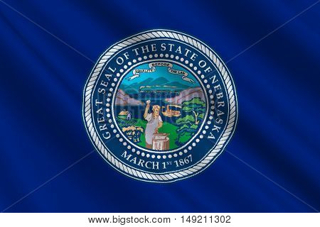 Flag of Nebraska is a state of United States. 3D illustration