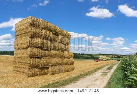 Stacked square straw bales on a field with combine harvester