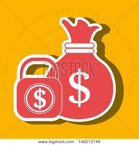 bag money padlock dollar vector illustration eps 10