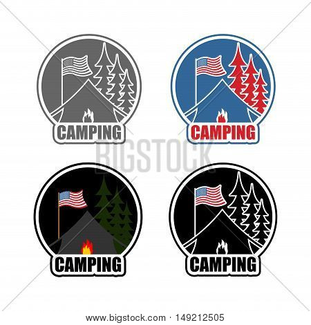 American Camping Logo Set Day And Night. Emblem For Accommodation Camp. Usa Flag. Landscape With Ten