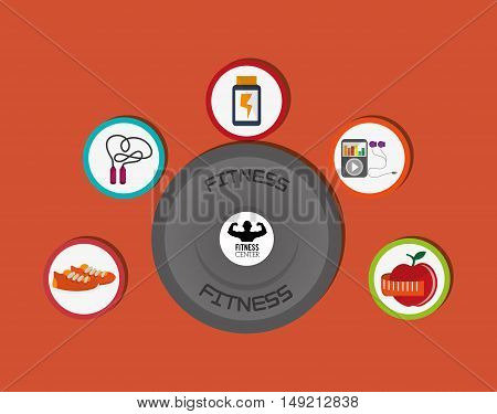 flat design barbell weights with  fitness lifestyle related icons image vector illustration