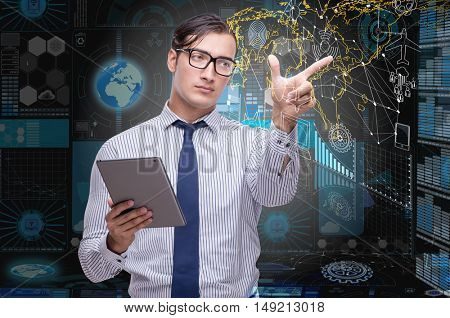 Man with tablet in data mining concept