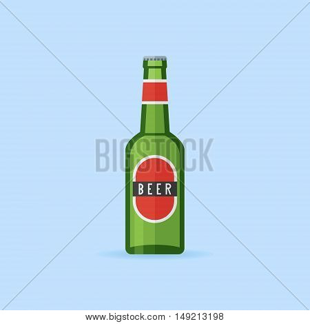 Green bottle of beer with label isolated on blue background. Flat style icon. Vector illustration.