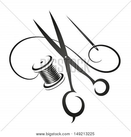 Sewing kit silhouette simple vector for business