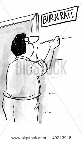B&W business illustration showing businessman measuring the high burn rate.