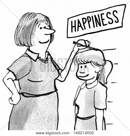 B&W illustration of mother equating her daughter's height with her happiness.